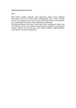 İdari İtirazlar/Necip Taha Gür Özet: İdari itirazlar başlıklı çalışmada