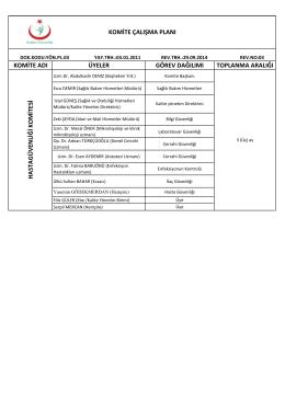komite adı üyeler görev dağılımı toplanma aralığı komite çalışma