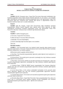 Bursluluk - Turgut Özal Üniversitesi