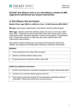 EUCAST Disk Difuzyon Testi ve Sıvı Mikrodilüsyon Yöntemi ile MİK