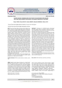 Klinik Sorumlu Hemşirelerin Sosyotropi Otonomi Kişilik Özellikleri