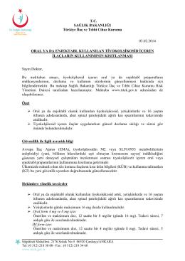 T.C. SAĞLIK BAKANLIĞI Türkiye İlaç ve Tıbbi Cihaz Kurumu 03.02