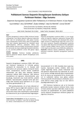 Pallidotomi Sonrası Dopamin Disregülasyon Sendromu Gelişen
