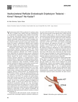 Vezikoüreteral Reflüde Endoskopik Enjeksiyon Tedavisi
