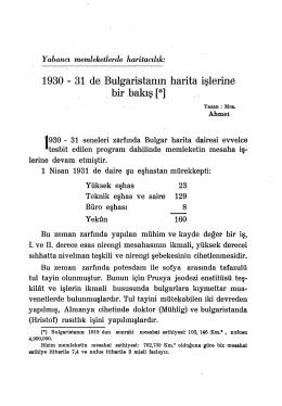 12.1930-31 de Bulgaristanın Harita İşlerine Bir Bakış