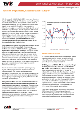 Elektrik Sektörü İkinci Çeyrek Değerlendirme Notu