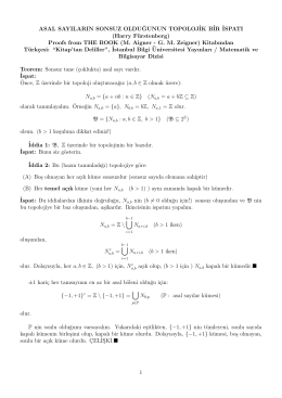 Sonsuz çoklukta asal sayı var olduğunun Topolojik bir ispatı