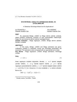 istatistiksel daraltıcı - Çukurova Üniversitesi Fen Bilimleri Enstitüsü
