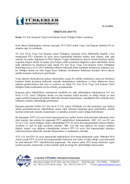 31.12.2014 431 Sıra Numaralı Vergi Usul Kanunu