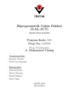 Proje Sonuç Raporu - Galatasaray Üniversitesi Matematik Bölümü