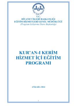kuran-ı kerim hizmet içi eğitim programı - 2014