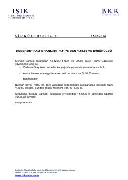 S İ R K Ü L E R : 2 0 1 4 / 71 22.12.2014