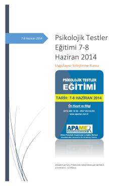 Psikolojik Testler Eğitimi 7-8 Haziran 2014