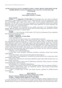 Çevre Kanununun 29. Maddesi Uyarınca Atıksu Arıtma Tesislerinin