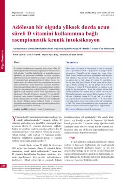 Adölesan bir olguda yüksek dozda uzun süreli D vitamini