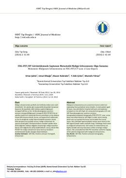 FDG-PET/BT Görüntülemede Saptanan Metastatik
