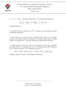 2014 yılı 19. Ulusal İlköğretim Matematik İkinci Aşama Soruları