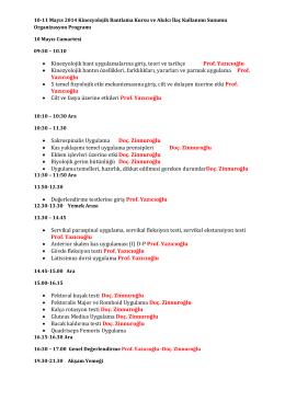 10-11 Mayıs 2014 Kinezyolojik Bantlama Kursu ve Akılcı
