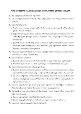 phar 590 eczane stajı kapsamında cevaplanması gereken sorular