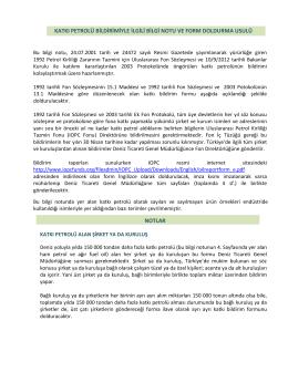 FUND 92 Sözleşmesi gereği petrol alan şirketlerden doldurulması