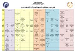 2014 - 2015 Lisansüstü Ders Programı