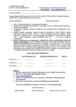 Alınan Kararlar(PDF) - SS İremkent Sahil Konut Yapı Kooperatifi