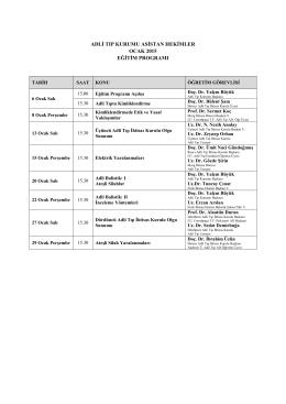Ocak-Şubat 2015 Asistan Eğitim Programı