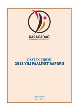2013 yılı faaliyet raporu - Karacadağ Kalkınma Ajansı