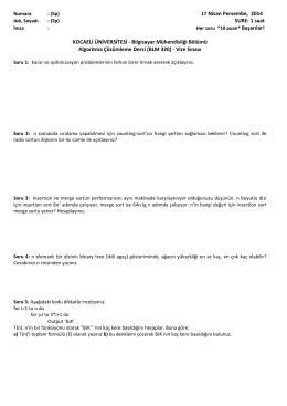 17 Nisan Persembe, 2014 SURE: 1 saat KOCAELİ
