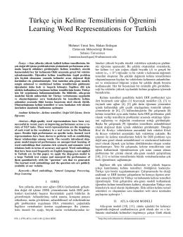 Türkçe için Kelime Temsillerinin Ö˘grenimi Learning Word