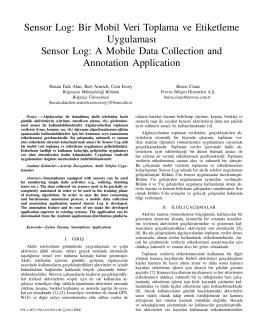Sensor Log: Bir Mobil Veri Toplama ve Etiketleme