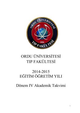 2014-2015 Eğitim-Öğretim Yılı Dönem IV Ders