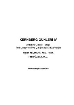 kernberg günleri ıv - Psikoterapi Enstitüsü