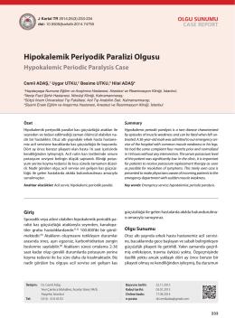 Hipokalemik Periyodik Paralizi Olgusu Hypokalemic