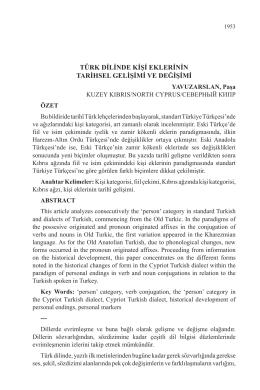 türk dilinde kişi eklerinin tarihsel gelişimi ve değişimi