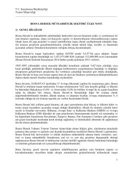 Bosna Hersek Müteahhitlik ve Teknik Müşavirlik Sektörü