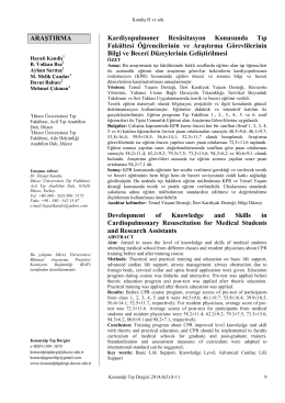 kardiyopulmoner resusitasyon konusunda tıp fakültesi öğrencilerinin