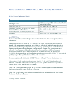 Hisse Geri Alım Programı YK Kararı-2014