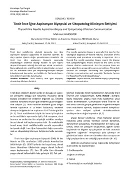 Tiroit İnce İğne Aspirasyon Biyopsisi ve Sitopatolog Klinisyen İletişimi