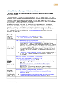 Teknolojik Değişim, İnovasyon ve Ekonomik Gelişme Araştırmaları