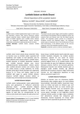 Lenfatik Sistem ve Klinik Önemi