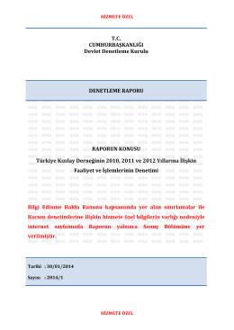 Türkiye Kızılay Derneğinin 2010, 2011 ve 2012 Yıllarına İlişkin