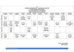 mühendislik fakültesi jeofizik mühendisliği bölümü 2014-2015
