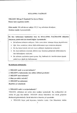 KULLANMA TALIMATI TRIAXON 500 mg IV Enjektabl Toz iceren