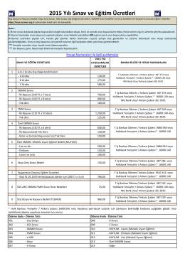 2015 Yılı Sınav ve Eğitim Ücretleri