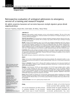 Retrospective evaluation of urological admissions to emergency