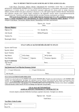 Staj başvuru formu - Akhisar Meslek Yüksekokulu