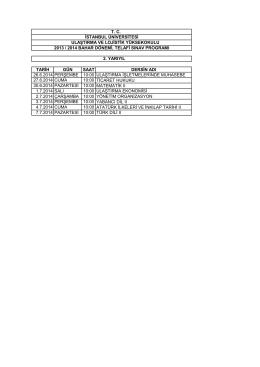 tarih gün saat dersin adı 26.6.2014 perşembe 10:00 ulaştırma