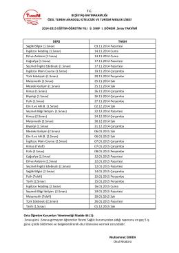 DERS TARIH Sağlık Bilgisi (1.Sınav) 03.11.2014 Pazartesi