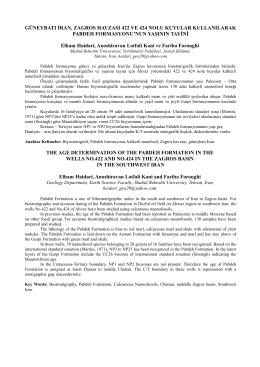 GÜNEYBATI İRAN, ZAGROS HAVZASI 422 VE 424 NOLU